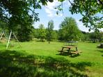 Plenty of room to play, stroll, admire the  wild flowers, or just relax in our meadow and orchard