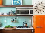 Cool kitchen with modern retro-styled Smeg fridge