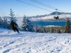 Ski slopes with views over the lake