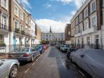 Moreton Place - the street. The apartment is situated on the first floor of a townhouse