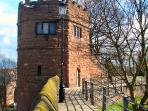 The famous King Charles Tower on the Roman Walls opposite the House at Waters Edge, Chester city