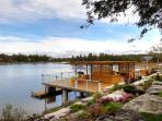 Communal dock 2400 square feet with bbq's, dining area and hot tub