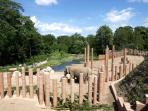 The new elephant habitat at the Zoo is integrated with Frederiksberg garden.