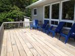 Large deck area with seating