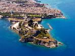 Bird eye view of old fortress Corfu Town