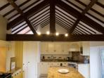 Feature vaulted ceiling in the spacious dining kitchen.