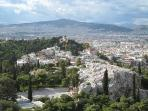 Lykabetous theater and Athens observatory near by