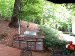 Privacy Galore! outdoor kitchen, multi swing sets, seating, hot tub, 4 tier fountain, brick patios.