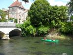Canoeing on the nearby river Charente at Verteuille
