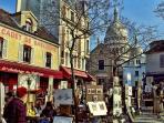 Typical painters of Montmartre.Place du Tertre