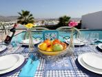 Outdoor dining, terrace, pool and sea view