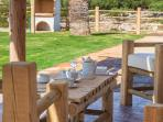 Beautiful rustic furniture in the terrace area!