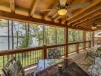 Screened in porch overlooking the lake