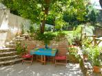 Morning sun on patio and garden