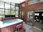 This Hot Tub is enclosed and protected