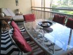 Enjoy dinner or relax with your favorite beverage on the over sized lanai with canal view