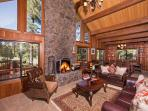 Living Room With Wood Fireplace and Views!