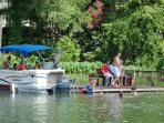 Pontoon boat can be rented. Shallow at pier-deep in river channel.