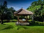 Villa's Bale Benong (gazebo) and lush tropical gardens