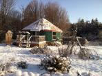 The yurt stays cozy all winter!