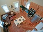 Birds eye view of the living room and kitchen