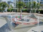 Sunset Island Center Square Kids Interactive Fountain seen from Condo