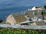 toits de lauzes typiques du Cap au village de la Marinca sur la commune de Canari