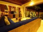 lounge - pool view (night time)