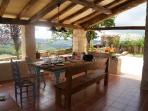 outdoor dining area with spectacular views over the valley