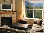 Living Room with mountain view and fireplace