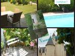 Jardin et piscine communs aux 2 gîtes