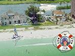 Aerial view of the beachfront property.  Thinnest part of the barrier Island