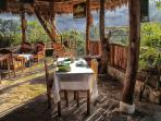 The morning breakfast at Eco Quechua Lodge