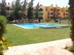 Ground level view of pool area