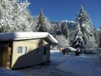 Winter snowfall at the cabin in Chilliwack