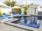 Grande pool with lounges for private sunning if desired and meticulously maintained