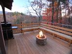 14x12 Deck with Stacked Stone Gas Fire Pit, Weber Gas Grill, Speakers, 20 mile Smoky Mountain View