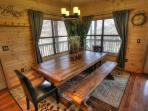 7 foot custom made farmhouse table provides a lot of seating for your family