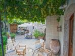 Outdoor dining and sitting area under the grapevine!