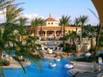 Beautiful pool area, waterslides, lazy river, kiddies pool, and hot tub