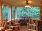 seating area on glassed in porch