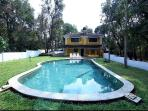 The pool and the lawns - great for an outdoor evening, BBQ, chill out music or a party..