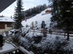 View at the back on the ski slopes
