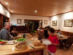 Family dinner at the lodge