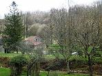 View from the house to the water mill and river Agentor