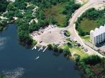 helicopter view of boat launch and bay