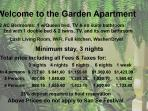 These are the rates for our other apt. The Garden apartment.