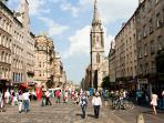 The Royal Mile is the heart of Edinburgh old town, just 5 minutes walk away