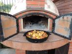 traditional wood-fired brick oven