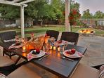 Enjoy leisurely dining or sit by the fire pit